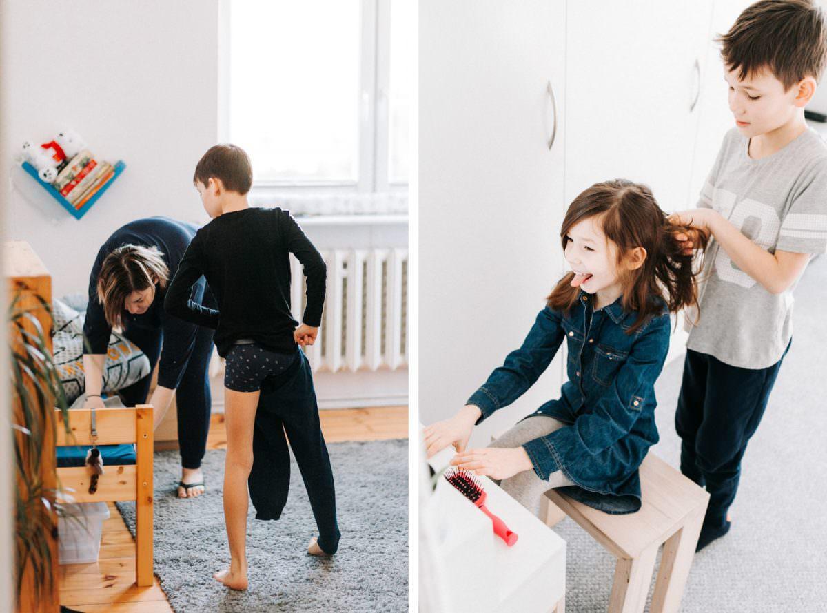 rodzinna sesja zdjęciowa, ubieranie i czesanie