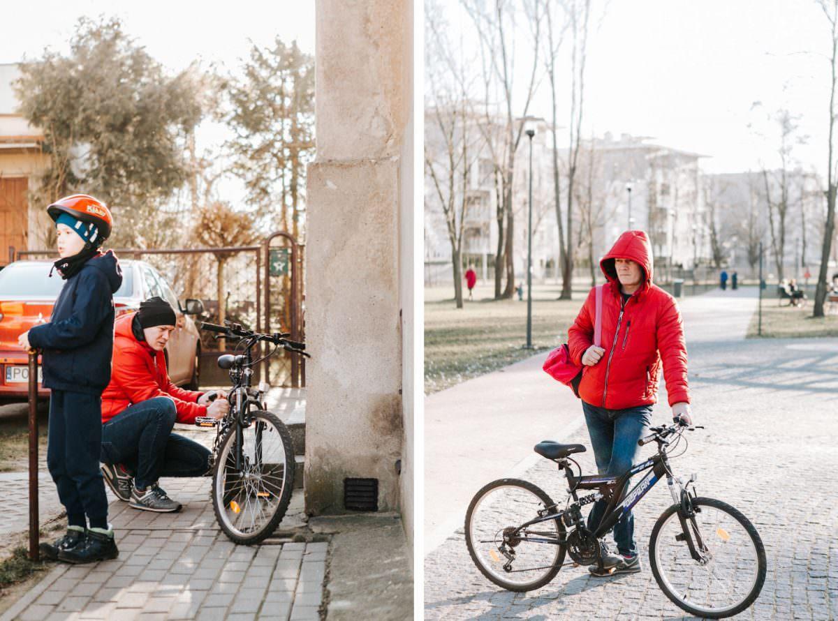 rowery na sesji rodzinnej w Poznaniu