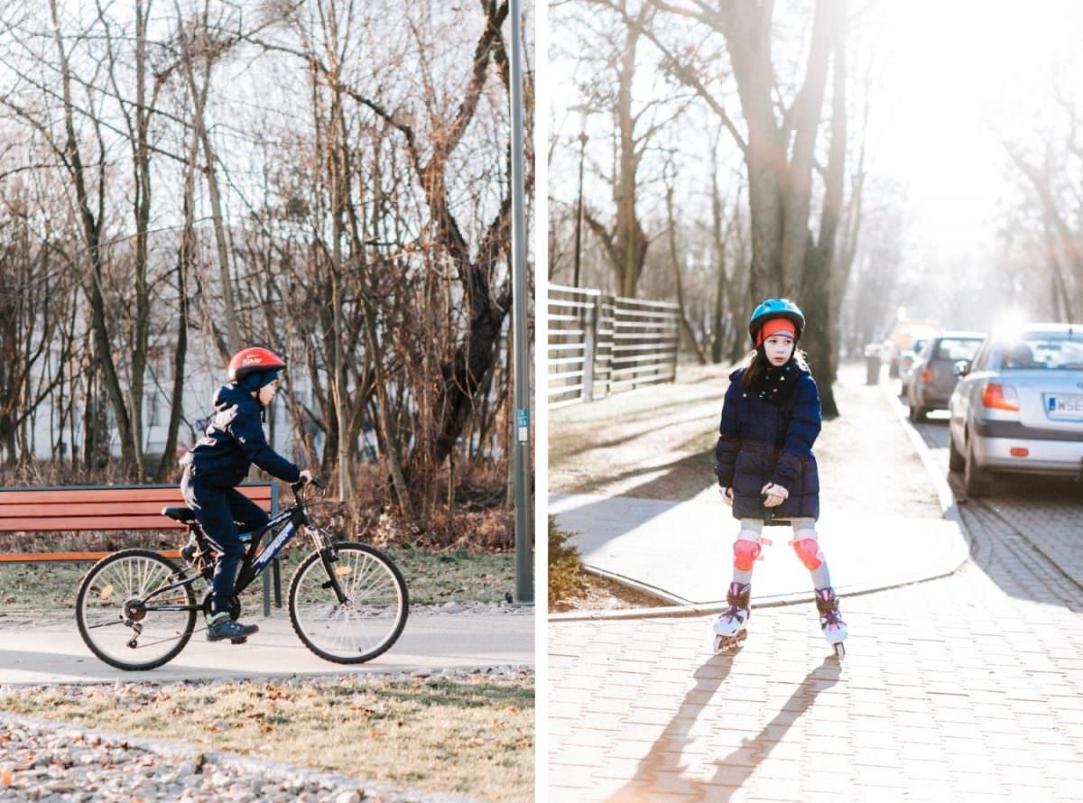 rower i rolki na rodzinnej sesji lifestylowej Poznań
